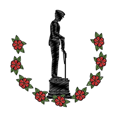 silhouette of soldier with rifle presenting respect with flowers illustration design