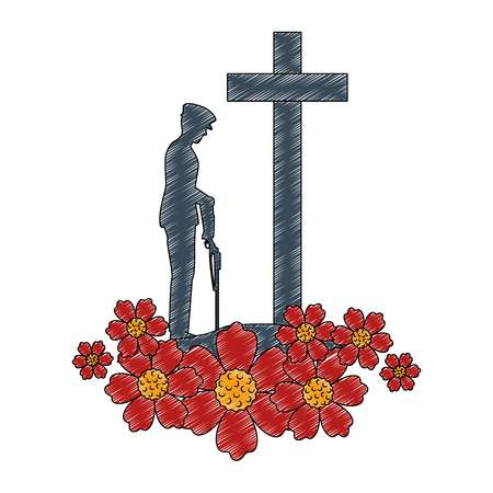 silhouette of soldier with rifle presenting respect with cross illustration design