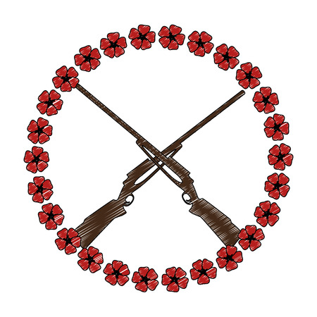 rifles crossed with flowers vector illustration design Illustration