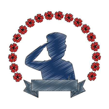 silhouette of soldier saluting with wreath flowers vector illustration design Çizim
