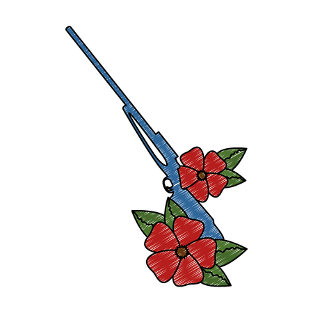 rifle of war with flowers vector illustration design