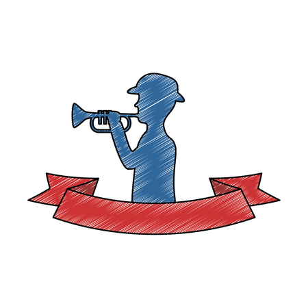 silhouette of soldier playing trumpet vector illustration design