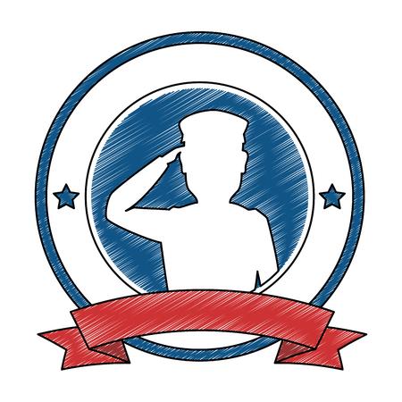 兵士のシルエット敬礼エンブレムベクトルイラストデザイン 写真素材 - 97395003
