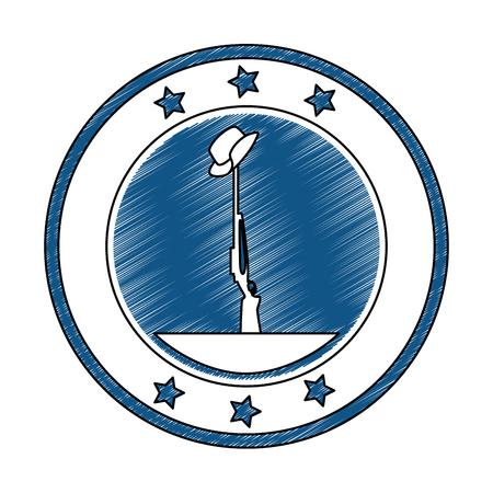 rifle and helmet emblem vector illustration design