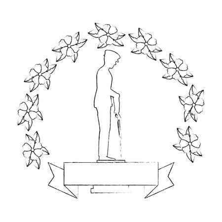 花のイラストデザインに敬意を示すライフルを持つ兵士のシルエット  イラスト・ベクター素材