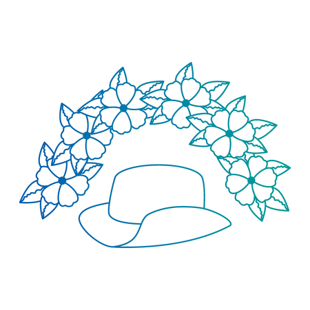 cowboy hat with flowers vector illustration design Illustration