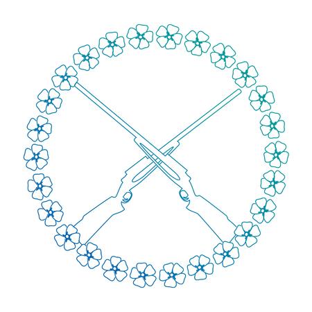 花と交差するライフルベクトルイラストデザイン
