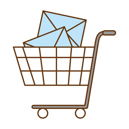 shopping cart with envelopes vector illustration design