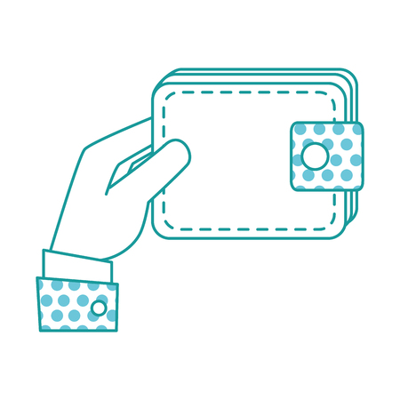 hand with wallet money isolated icon vector illustration design