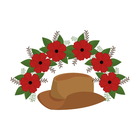 cowboy hat with flowers vector illustration design  イラスト・ベクター素材