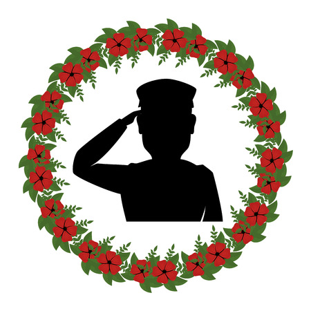silhouette of soldier saluting with wreath flowers vector illustration design  イラスト・ベクター素材