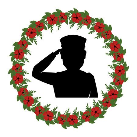 silhouette of soldier saluting with wreath flowers vector illustration design Illusztráció