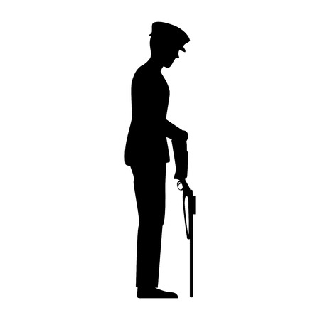 silhouette of soldier with rifle presenting respect vector illustration design