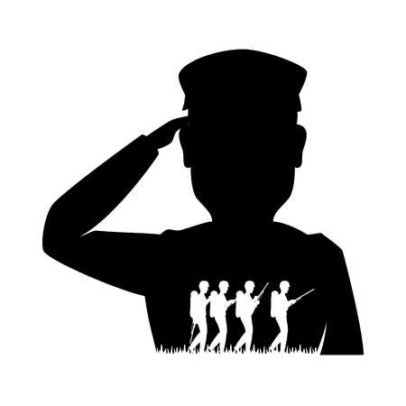 silhouette of soldier saluting vector illustration design