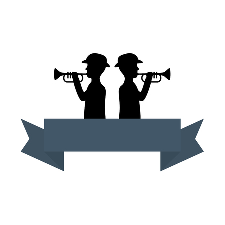 silhouette of soldiers playing trumpet vector illustration design Stock Illustratie