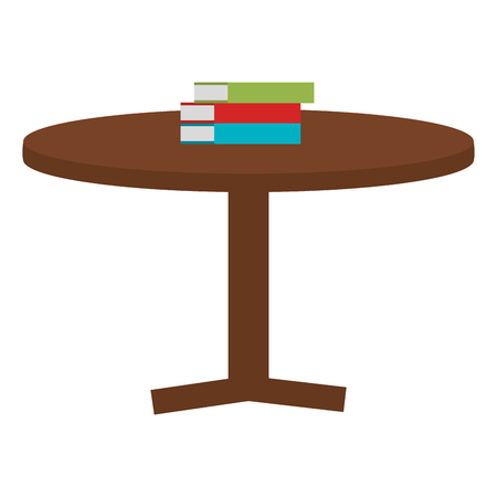 round table with books vector illustration design