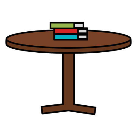 Round table with books vector illustration design. Illustration