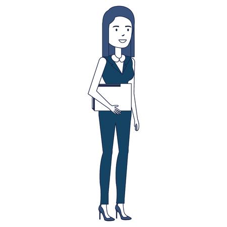 beautiful businesswoman with folder avatar character vector illustration design
