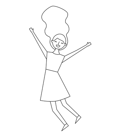 people female jumping enjoy character vector illustration thin line