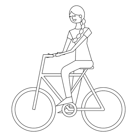 beautiful young happy woman riding in bicycle vector illustration thin line