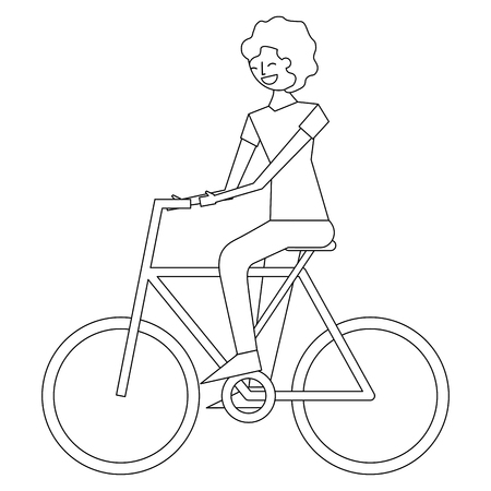 young man riding bike activity vector illustration thin line