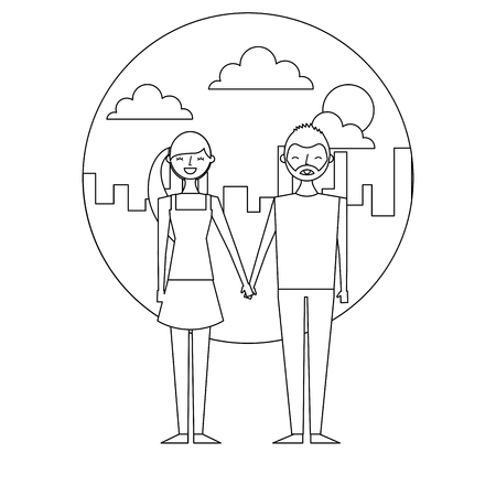 happy copule holding hands with urban background vector illustration thin line Illustration