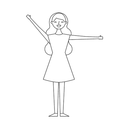 young woman people character gesturing with arms vector illustration thin line