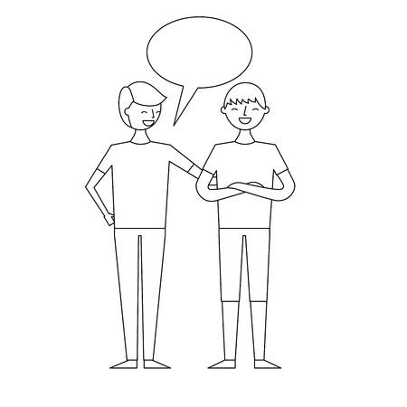 people male character men friends speech bubble vector illustration thin line 向量圖像