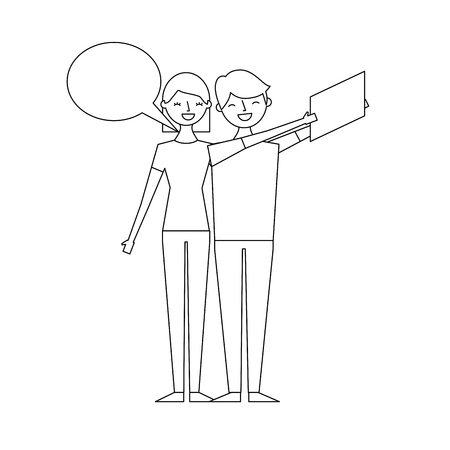 couple of young taking selfie with mobile vector illustration thin line
