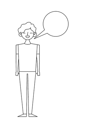 young people male man with speech bubble talk vector illustration thin line