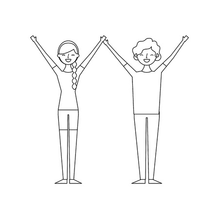 couple of young raised arms people characters vector illustration thin line Illustration