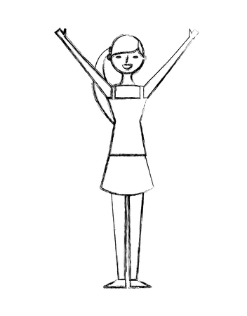 young woman people character gesturing with arms vector illustration sketch design