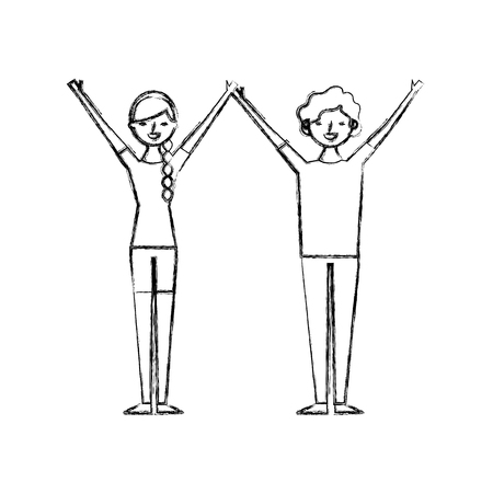 couple of young raised arms people characters vector illustration sketch design