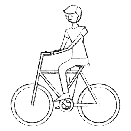 young man riding bike activity vector illustration sketch design