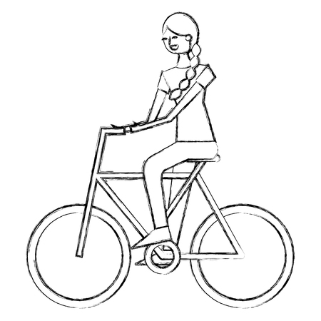 beautiful young happy woman riding in bicycle vector illustration sketch design