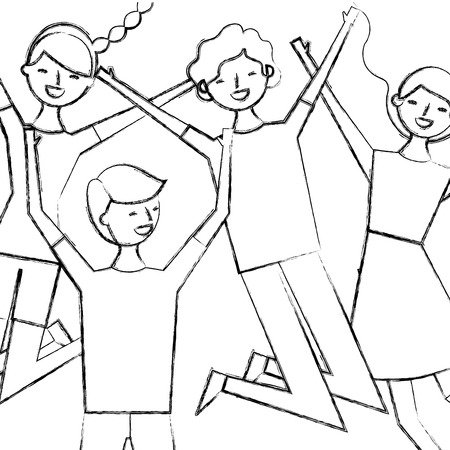 people group man and woman jumping funny vector illustration sketch design