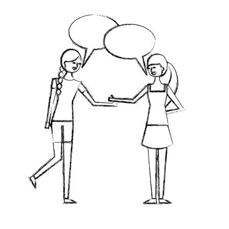people character friends women speech bubble talking vector illustration sketch design