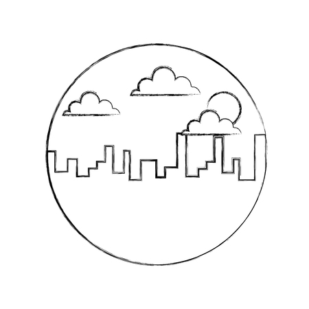 風景都市都市建物朝雲太陽ベクトルイラストスケッチデザイン