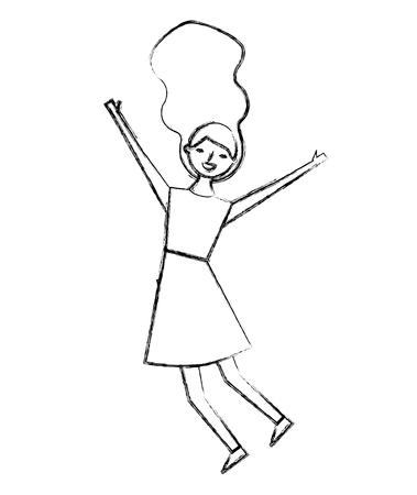people female jumping enjoy character vector illustration sketch design