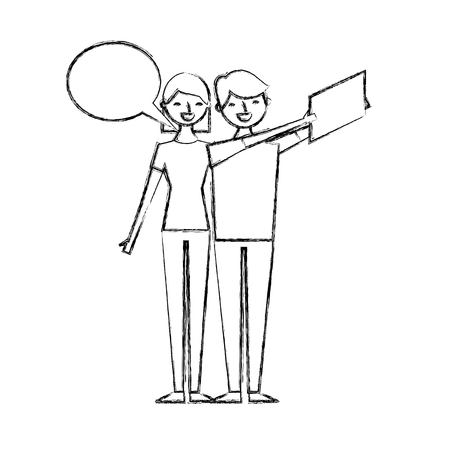 couple of young taking selfie with mobile vector illustration sketch design