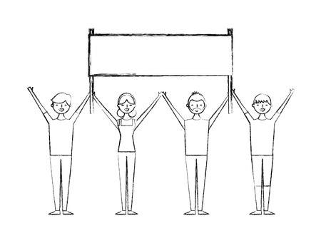 people group man and woman holding poster vector illustration sketch design Illustration