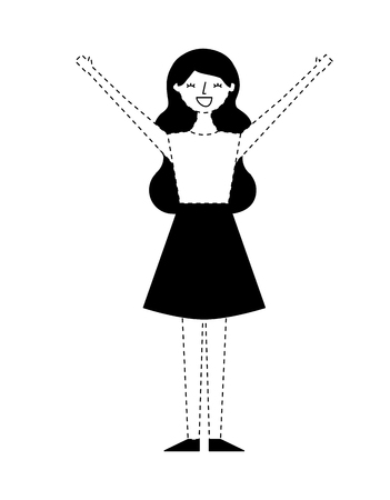 young woman people character gesturing with arms vector illustration monochrome dotted line image Illustration