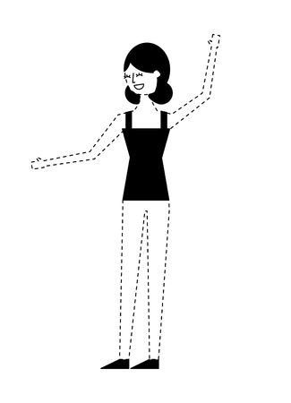 young woman people character gesturing with arms vector illustration monochrome dotted line image 일러스트