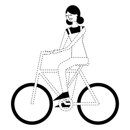 beautiful young happy woman riding in bicycle vector illustration monochrome dotted line image