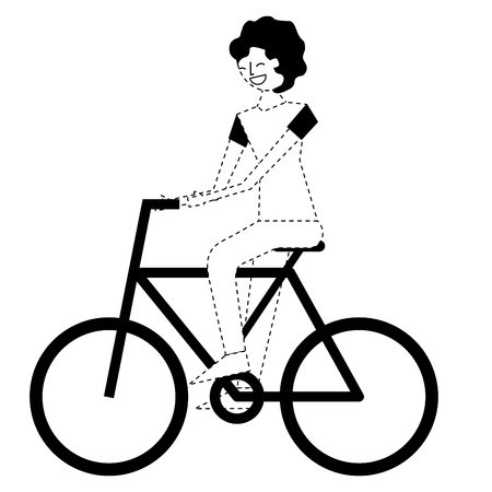 young man riding bike activity vector illustration monochrome dotted line image
