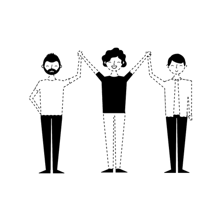 people male character men friends holding hands vector illustration monochrome dotted line image