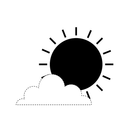 weather summer season sun clouds day vector illustration monochrome dotted line image Ilustrace