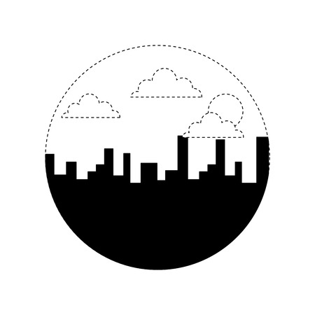 landscape urban city building morning clouds sun vector illustration monochrome dotted line image