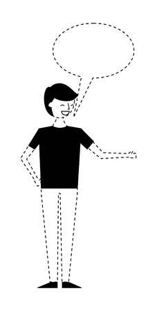 young people male man with speech bubble talk vector illustration monochrome dotted line image