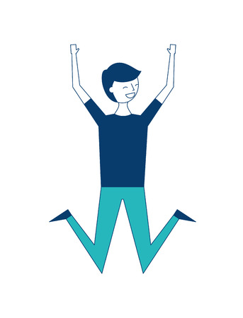 jumping young people male man vector illustration green and blue design
